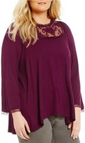 Chelsea & Theodore Plus Long Sleeve Lace Yoke Blouse