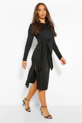 boohoo Crepe Tie Long Sleeve Midi Dress