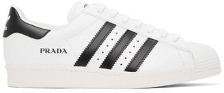 adidas White and Black Prada Edition Superstar Sneakers