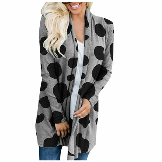 MomTop Women Cardigans Cute Cow and Letter Printing Casual Long Sleeved Fashion Open Front Winter Lightweight Outerwear for Flowy Hem Coat