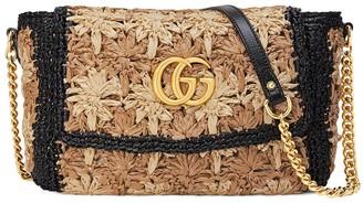 Gucci small GG Marmont raffia shoulder bag