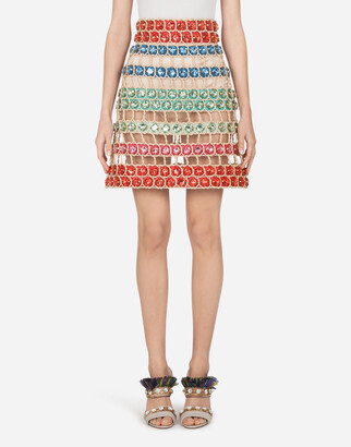 Dolce & Gabbana Short A-Line Skirt Made Of Rope And Stones