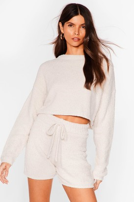 Nasty Gal Womens Soften the Blow Fluffy Knit Cropped Sweater - Cream