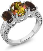 Gem Stone King 3.30 Ct Oval Mango Mystic Topaz Brown Smoky Quartz 925 Sterling Silver Ring
