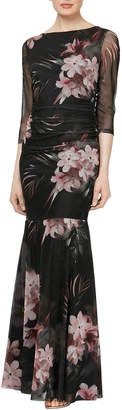 Ignite Floral Printed Mesh Long Gown