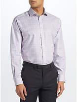 John Lewis Non Iron Check Regular Fit Shirt, Blue/pink