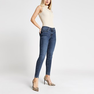 River Island Womens Dark Blue Amelie rip hem super skinny jeans