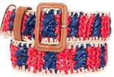 Prada Woven Leather-Trimmed Belt