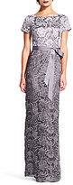 Adrianna Papell Two Tone Lace Column Gown
