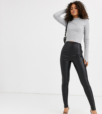 Asos Tall DESIGN Tall spray on leather look pants-Black