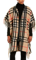 Burberry Check Leather-Trim Wool-Blend Cape