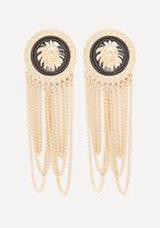 Bebe Lion Medallion Earrings