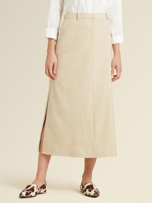 DKNY Donna Karan Women's A-line Maxi Skirt With Split Hem - Khaki - Size 00