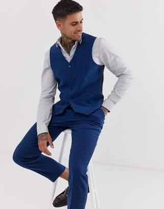 Design DESIGN wedding skinny suit waistcoat in blue wool mix twill