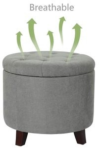 Copper Grove Bocono 17-inch Cylindrical Grey Tufted Lift-top Storage Ottoman