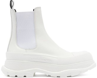 Alexander McQueen Tread Exaggerated-sole Leather Chelsea Boots - White