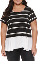 Boutique + + Short Sleeve Scoop Neck T-Shirt-Plus