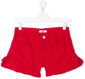 Msgm Kids Ruffled Hem Shorts