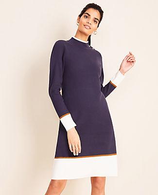 Ann Taylor Petite Colorblock Mock Neck Sweater Dress