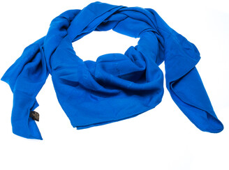 Cartier Must De Blue Panthere Monogram Wool and Silk Blend Square Scarf