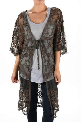 Origami Stone-Washed Lace Duster