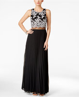 Betsy & Adam Lace Popover Pleated Gown