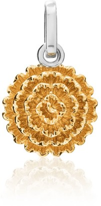 Tane Exquisitely Detailed Cempasuchil Marigold Charm Handmade In Sterling Silver & Vermeil