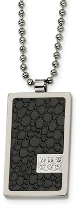 Chisel Stainless Steel Stingray Patterned and 1/10 cttw Diamond 24-inch Necklace