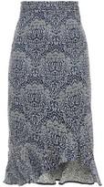 Erdem Fluted Floral-jacquard Midi Skirt