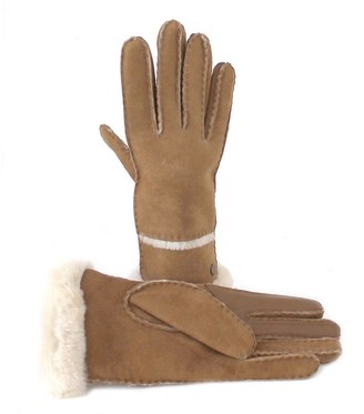 UGG Ladies Sheepskin Exposed Slim Tech Glove - Chestnut - M