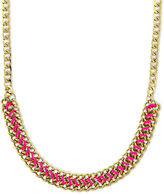 Vince Camuto Necklace, Gold-Tone Pink Cord Wrapped Chain Necklace