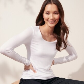 The White Company Essential Double Layer T-Shirt, White, 8