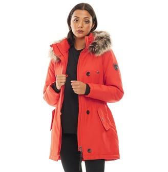 Only Womens Iris Fur Parka Fiery Red