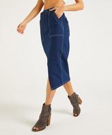 Suzanne Betro Weekend Women's Denim Skirts 101DARK - Dark Wash Pocket Front-Slit Midi Skirt - Women & Plus