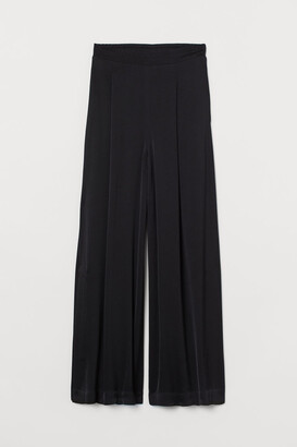 H&M Wide-cut Side-slit Pants - Black
