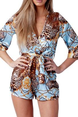 Re Tech Uk Women's Satin Leopard Chain Print Playsuit 3/4 Sleeve Plunge V-Neck Tie Waist Belt Fashion (Sky Blue UK 8)