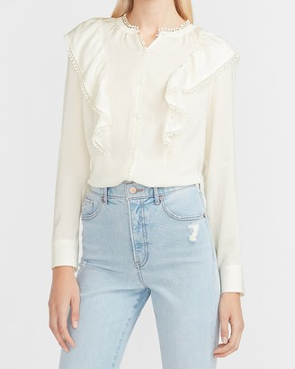 Express Ruffle Shoulder Portofino Shirt