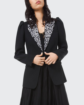 Michael Kors Leopard Embroidered Puff Sleeve Blazer