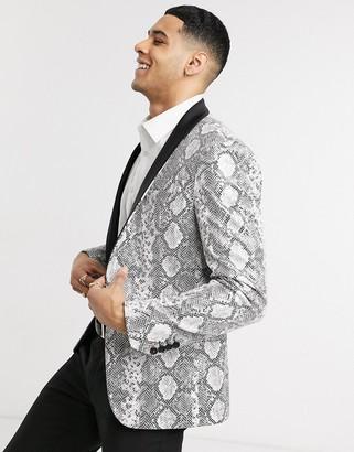 Avail London skinny fit tuxedo jacket in snakeskin print