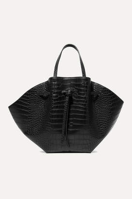Nanushka Lynne Croc-effect Faux Leather Tote - Black