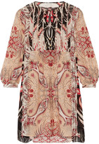 Rachel Zoe Lucia Printed Silk Crepe De Chine Mini Dress - Blush