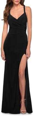 La Femme Ruched Matte Jersey Gown