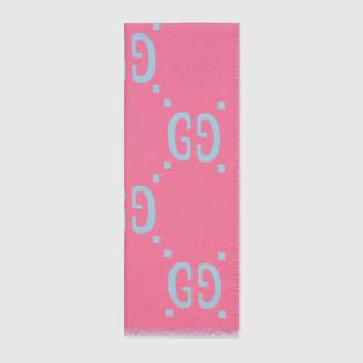Gucci GG jacquard wool silk scarf