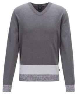BOSS V-neck sweater in Italian Pima cotton with colourblock hem