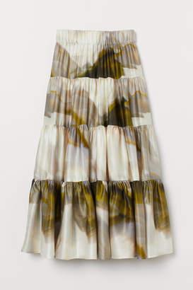 H&M Patterned Silk-blend Skirt - Green