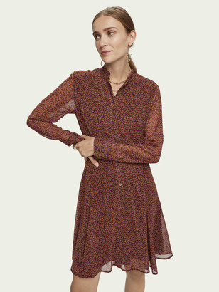 Scotch & Soda Drapey peplum style long sleeve dress | Women