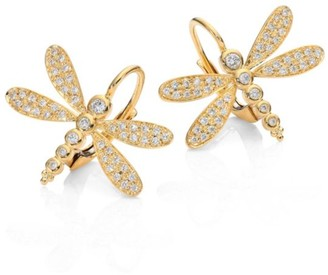 Temple St. Clair Dragonfly Pave Diamond & 18K Yellow Gold Earrings
