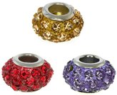 Gem Stone King Set of Three Round 14mm Multi-Color Pave Crystal Ball Fits with Beads and Charms