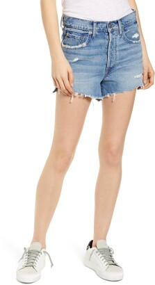 Edwin Cai High Waist Distressed Denim Cutoff Shorts