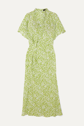 Stine Goya Rhode Gathered Floral-print Silk Crepe De Chine Midi Dress - Lime green